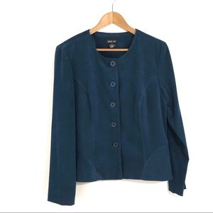 Leslie Fay Women's Size 12 Large Blue Suede Jacket